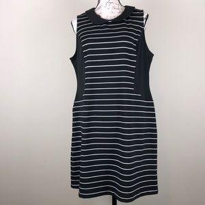 Elle black dress with white stripes Sz XL